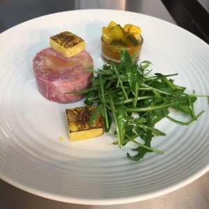 Ham hock terrine, picalilli, charred pineapple, rocket