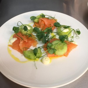 Wye valley smoked salmon, pickled cucumber, wasabi mayonnaise
